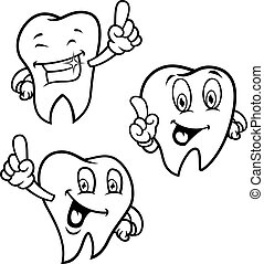 conjunto, caricatura, dientes