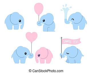 conjunto, caricatura, elefante