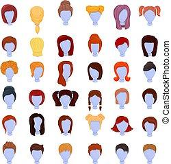 conjunto, caricatura, iconos, peluca, estilo