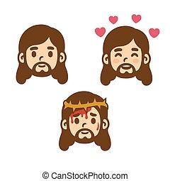 conjunto, caricatura, jesús