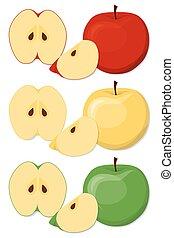 conjunto, caricatura, manzanas, style.