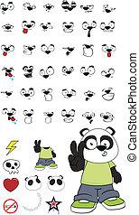 conjunto, caricatura, niño, panda