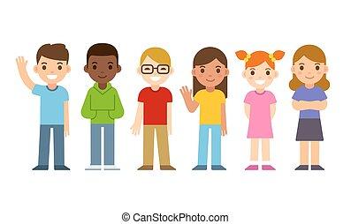 conjunto, caricatura, niños