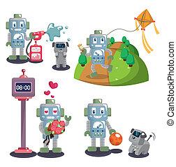 conjunto, caricatura, robot