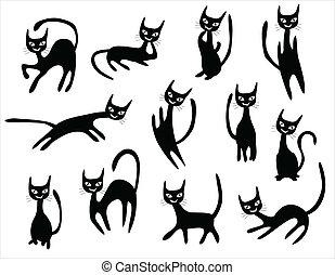 conjunto, caricaturas, gato