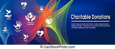 conjunto, caritativo, dar, y, encabezamiento, donaciones,...