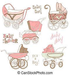 conjunto, -, carruaje, vector, diseño, bebé, álbum de ...