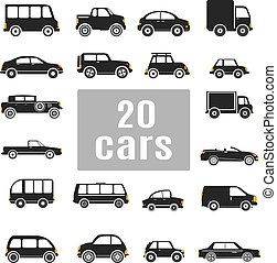conjunto, cars., iconos
