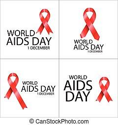 Conjunto, cartel, Cintas, día, mundo, Ayudas, rojo