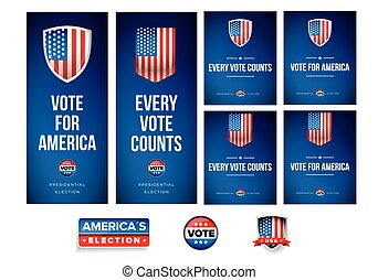 conjunto, cartel, elección, bandera, o, presidencial
