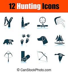 conjunto, caza, icono
