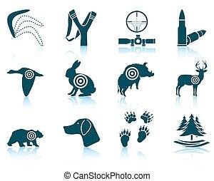 conjunto, caza, iconos