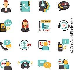 conjunto, centro, iconos, apoyo, contacto, llamada