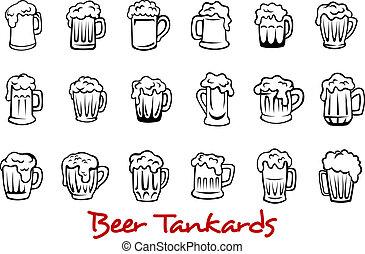 conjunto, cerveza, tankards