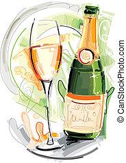 conjunto, champagner