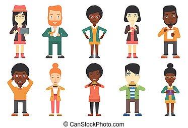 conjunto, characters., empresa / negocio, vector