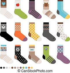 conjunto, childrens, calcetines, icono