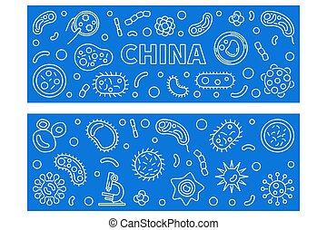 conjunto, china, vector, lineal, virus, concepto, banderas, ...
