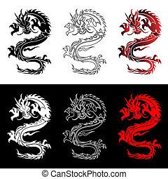 conjunto, chino, dragones