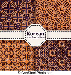 conjunto, chino, seamless, o, patrones, vector, coreano,...