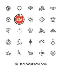 conjunto, chino, vector, año, nuevo, icono