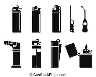 conjunto, cigarrillo, estilo, quemadura, encendedor, iconos, simple