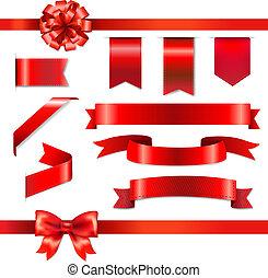 conjunto, cintas, arco rojo