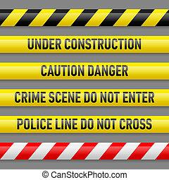 conjunto, cintas, peligro