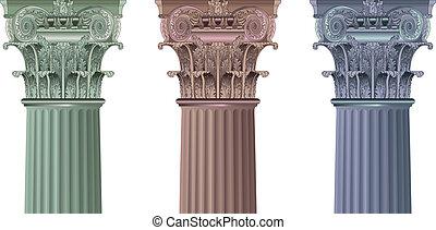 conjunto, clásico, columnas