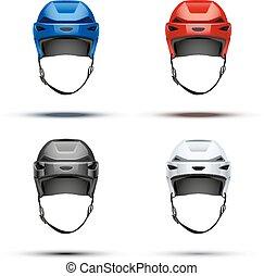 conjunto, clásico, hielo, vector, helmets., hockey
