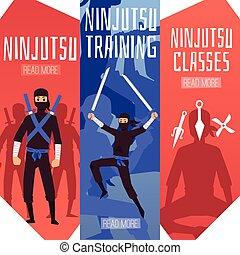 conjunto, clases, bandera, plantilla, caricatura, ninjutsu, guerrero, entrenamiento