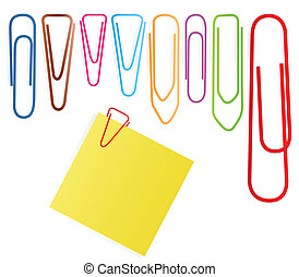 conjunto, clip, nota, vector, papel, plano de fondo