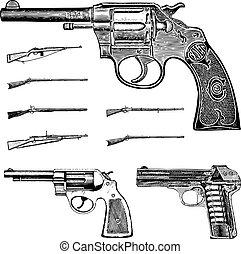 conjunto, clipart, vendimia, arma de fuego, vector, rifle,...