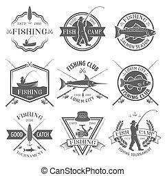 conjunto, club, emblemas, negro, pesca, blanco