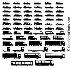 conjunto, coche, silueta