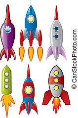 conjunto, cohete, espacio, barcos, estilizado, vector, retro