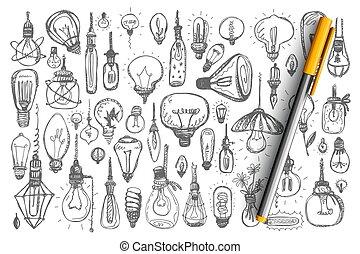conjunto, colección, bombillas, garabato, luz