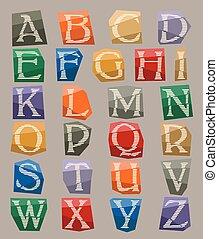 conjunto, color, alfabeto, papel, recortar