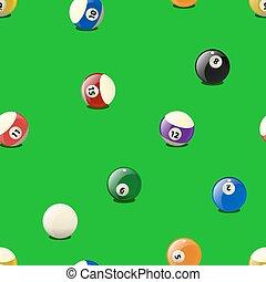 conjunto, color, billar, pattern., seamless, pelotas
