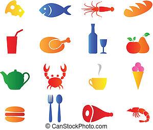 conjunto, color brillante, iconos del alimento, vector.