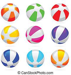 conjunto, color, pelota, brillante, reflections., playa