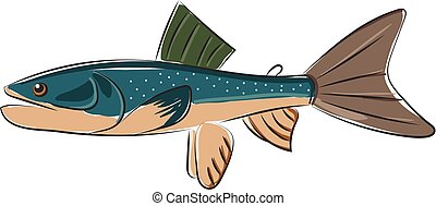 conjunto, color, pez, aislado, ilustración, blue-colored,...