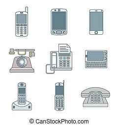conjunto, coloreado, iconos, dispositivos, teléfono, vario, contorno