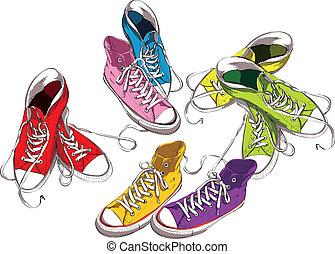 conjunto, colores, zapatillas