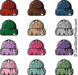 conjunto, colorido, caps., tejido, vector, hipster, sombreros