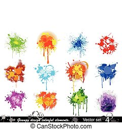 conjunto, colorido, elements., (4), vector, diseño, grungy