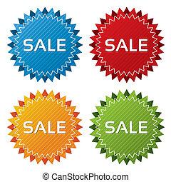 conjunto, colorido, etiquetas, collection., iconos, venta, (...