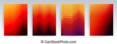 conjunto, colorido, fuego, patrones, halftone, plano de fondo, geométrico, gradients