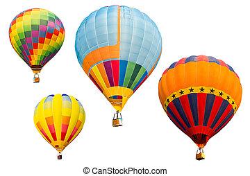 conjunto, colorido, globo, aislado, aire, caliente, plano de...
