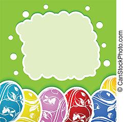Conjunto, colorido, huevos, florido, Pascua, tarjeta